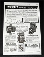 1935 OLD MAGAZINE PRINT AD, KODAK CAMERAS, LENS SPEED, WHAT IT IS-HOW TO USE IT!