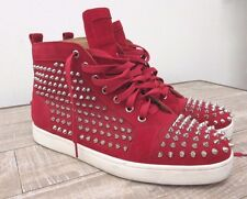 Christian Louboutin Red Suede Sharp Nail Spiked Hi Top Sneaker Boots Sz: 41 / 11
