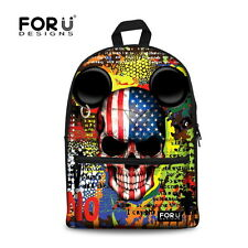 FOR U DESIGNS US Flag SKULL Backpack Boys School Bags Rucksack Canvas Bookbag