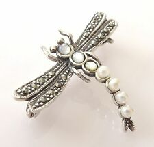 Vtg Sterling Silver Marcasite Moonstone Faux Pearl Dragonfly Brooch Pin Antique