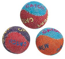 "ETHICAL SPOT CATNIP BURLAP BALLS TOUGH CAT TOY 3 PACK 1"" ROUND FUN FREE SHIP USA"