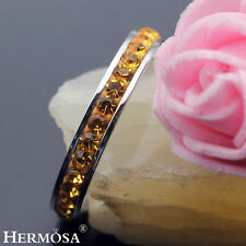 SHINY YELLOW CITRINE XMAS SALES .925 STERLING SILVER HERMOSA NEW RING Sz.8#