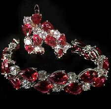 14k White Gold Bracelet Earrings Set made w/ Swarovski Crystal Ruby Red Stone