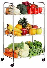 NEW 3 TIER VEGETABLE FRUIT RACK WHEELS CHROME STORAGE TROLLEY STAND CART KITCHEN