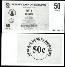 ZIMBABWE 50 CENTS 2006 BEARER CHEQUE P 36 UNC
