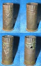 WW1 TRENCH ART PAIR OF ENGRAVED FRENCH CASINGS