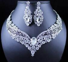 VINTAGE AUSTRIAN RHINESTONE CRYSTAL NECKLACE EARRING SET BRIDAL PROM N1872 WHITE