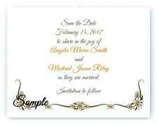 100 Personalized Custom Daisy Border Wedding Bridal Save The Date Cards