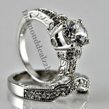 Round cut .925 Sterling Silver Diamond Engagement Ring Wedding Set Womens sz 10