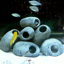 3 x Aquarium Ornament Fish Tank Cichlid Stones Ceramic Rock Cave Decoration