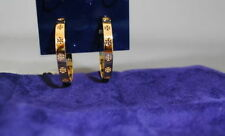 NWT Tory Burch Pierced T Hoop Earrings Gold with Pouch $95 35% OFF Free shipping