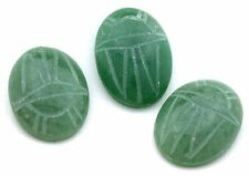 ONE 25x18 25mm x 18mm Green Aventurine Scarab Gem Stone Gemstone Cab Cabochon
