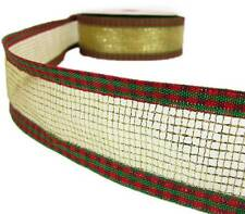 "5 Yds Christmas Red Green Gingham Rustic Plaid Gold Mesh Wired Ribbon 1 1/2""W"