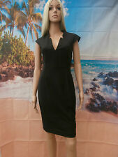French connection Black fitted bodycon midi dress size UK 8 rrp £ 140
