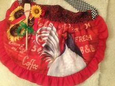 New Handmade Women's Red Rooster Print Apron w/Sash, Sunflower Pin, Extras!