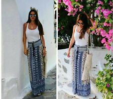 GREAT ZARA NAVY & ECRU PRINTED LONG FLOWING SKIRT SIZE M UK 10 12