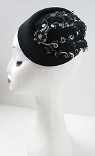 Noir blanc & argent plume pillbox hat à vintage 1920 headpiece X-20