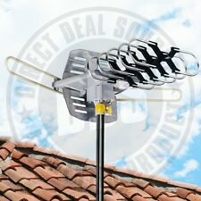 HDTV Amplified Outdoor Antenna HD TV 36dB Rotor Remote 360° UHF/VHF/FM 150 Miles