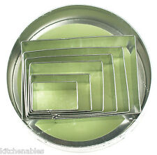 Fox Run Rectangular Cookie Cutter Set of 6 w/ Storage Tin -Rectangle Biscuit