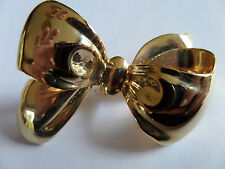 RETRO VINTAGE STYLE 40s 50s 60s GOLD COLOUR BOW DESIGN BROOCH new box
