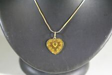 """STUNNING 22k TWO-TONE GOLD CHAIN (20"""")  WITH 24K (2.5 g.) RAINBOW HEART PENDANT"""