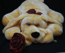 "Big Tan Brown Puppy Dog Black Nose Rose Bow Plush 2005 Kids of America 18"" Toy"
