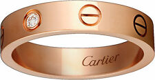 Authentic Cartier Love Wedding Band 1 Diamond - Size 49 / 4 1/2 - Pink Gold