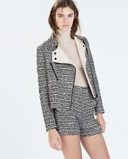 Amazing ZARA Black White/Ecru Mixed Fabric Jacket Blazer Size XS