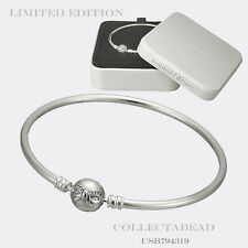 "Authentic Pandora Sterling Silver Dainty Bow Bangle Gift Set 7.5"" USB794319"