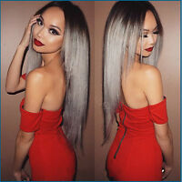 Fashion Women Ombre Wig Lolita Mixed Grey Heat Resistant Synthetic Hair Wigs+Cap
