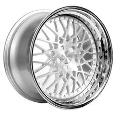 "(4/set) 20"" Staggered Rennen Wheels Rims CSL 5 Silver W/ Chrome Step Lip Rims"