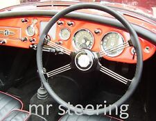 FOR TRIUMPH TR4 1961-1965 BLACK BEST QUALITY REAL LEATHER STEERING WHEEL COVER