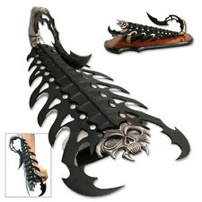 NEW Scorpion Skull Handdle Fantasy Knife Fixed Blade Claw Black Dragon Display