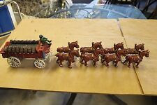 Vintage Cast Iron Horse Drawn Beer Cart Clydesdales Wagon Budweiser?