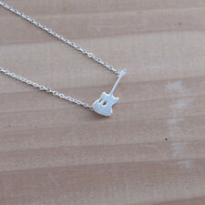 Guitar Pendant Charm Necklace. Silver Necklace. Trendy .Stylish. Minimal. NEC05G