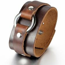 New Punk Rock Cool Ring Wide Leather Bracelet Men's Biker Wristband Cuff Bangle