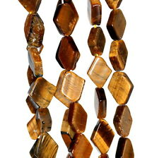 8X6-15X9MM COGNAC TIGER EYE GEMSTONE YELLOW DIAMOND PRISM NUGGET LOOSE BEADS 14""