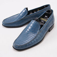 NIB $4995 STEFANO RICCI Ocean Blue Genuine Crocodile Loafers US 9 D Shoes