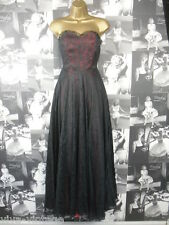 Vintage 1950s Strapless Black Lace Full Circle Retro Rockabilly Pin Up Dress 6/8