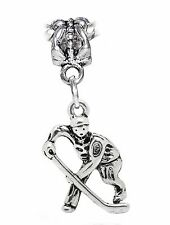 Hockey Player NHL Team Ice Sports Dangle Bead for Silver European Charm Bracelet