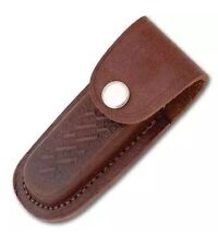 "Folding Pocket Knife Sheath 4"" Textured Brown Genuine Leather Belt Case"