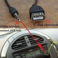 Black 3.5mm Headphone Male AUX Audio Jack Plug to USB 2.0 Female Car MP3 Cable