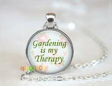 Gardening Is My Therapy glass dome Tibet silver Chain Pendant Necklace wholesale
