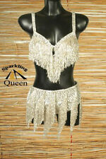 Egyptian Belly Dance Costume bra Belt Set Professional Dancing Silver Beads