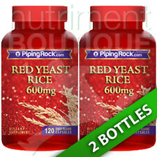 Red Yeast Rice 600mg 2X120 or 1X240 Capsules Monascus Purpureus by Piping Rock