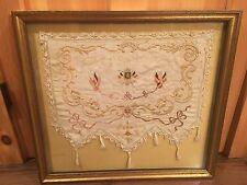 Framed Antique French Needlepoint Textile 1914