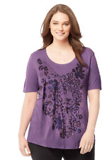 Just My Size Fluid Rayon Blend S/S Glitzy Graphic Top 5X Purple Heather Leopard
