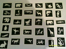 40 animal themed tattoo stencils for glitter tattoos / body art / airbrush