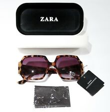 ZARA ACCESSORIES Geometric BROWN Leopard SUNGLASSES 100% UV with Case FREE SHIP