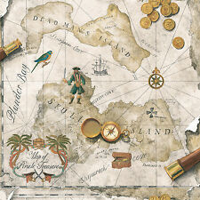 Boys Pirate / Pirates Treasure Chest Map on Taupe and Beige Wallpaper BT2815